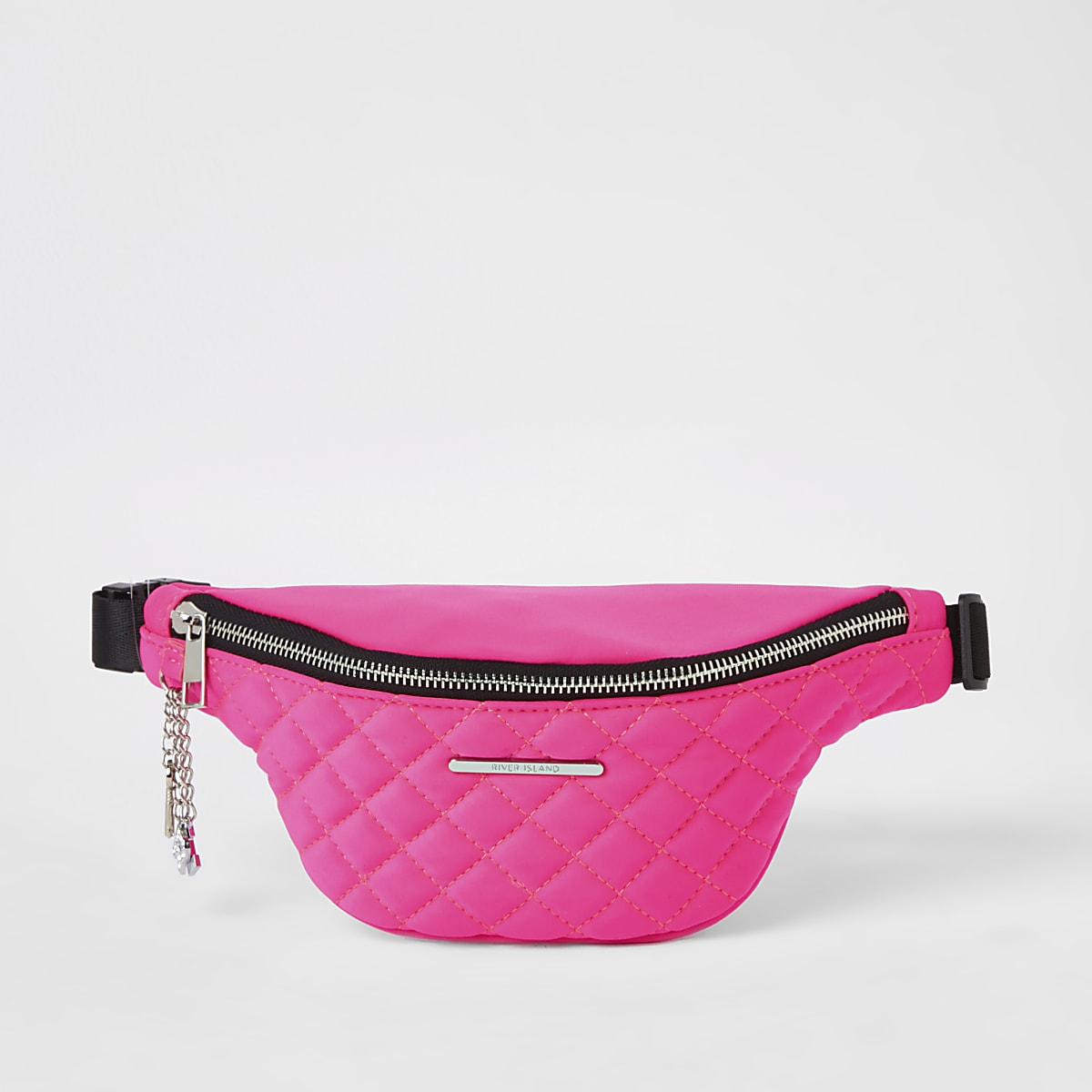 Girls pink quilted fluorescent bum bag