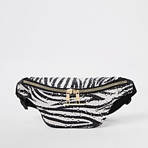 Girls white zebra print sequin bum bag