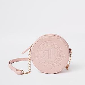 Sac bandoulière rond rose avec logo RI pour fille