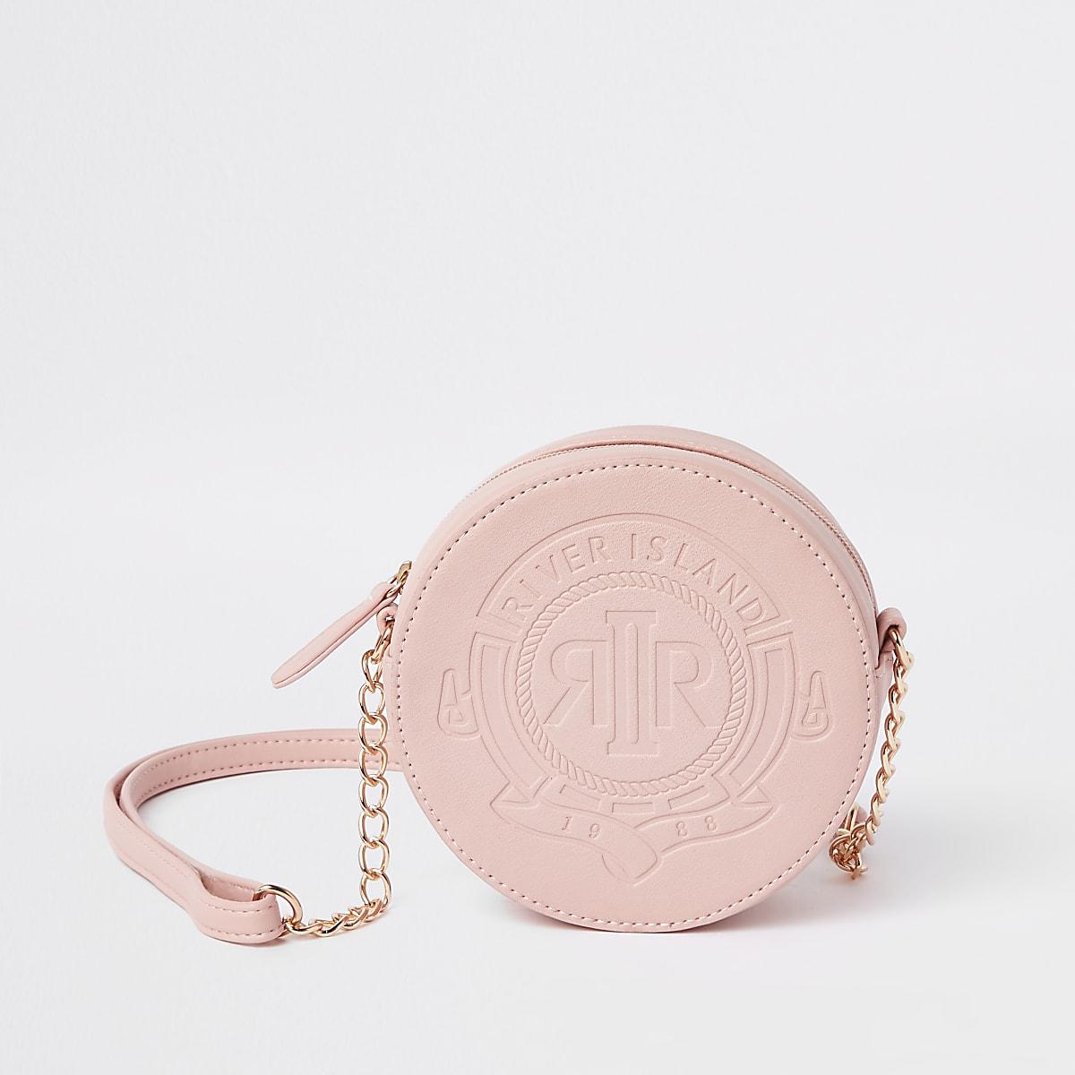 Girls pink RI circle cross body bag