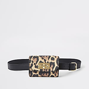 Girls leopard print belt bum bag