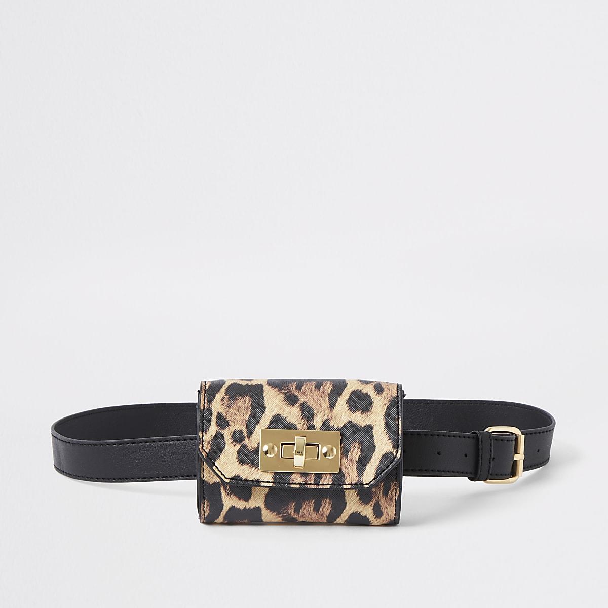 Girls leopard print belt bum bag