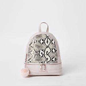 Roze rugtas met slangenprint voor meisjes