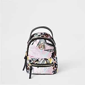 Mini girls pink tropical print backpack