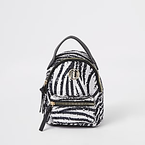 Girls white sequin zebra mini backpack