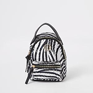 Mini sac à dos à imprimé zèbre blanc orné de sequins pour fille