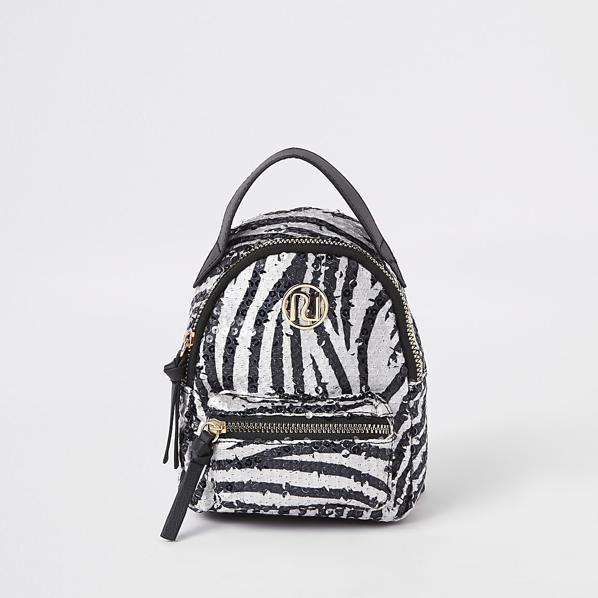 Mini girls white sequin zebra backpack