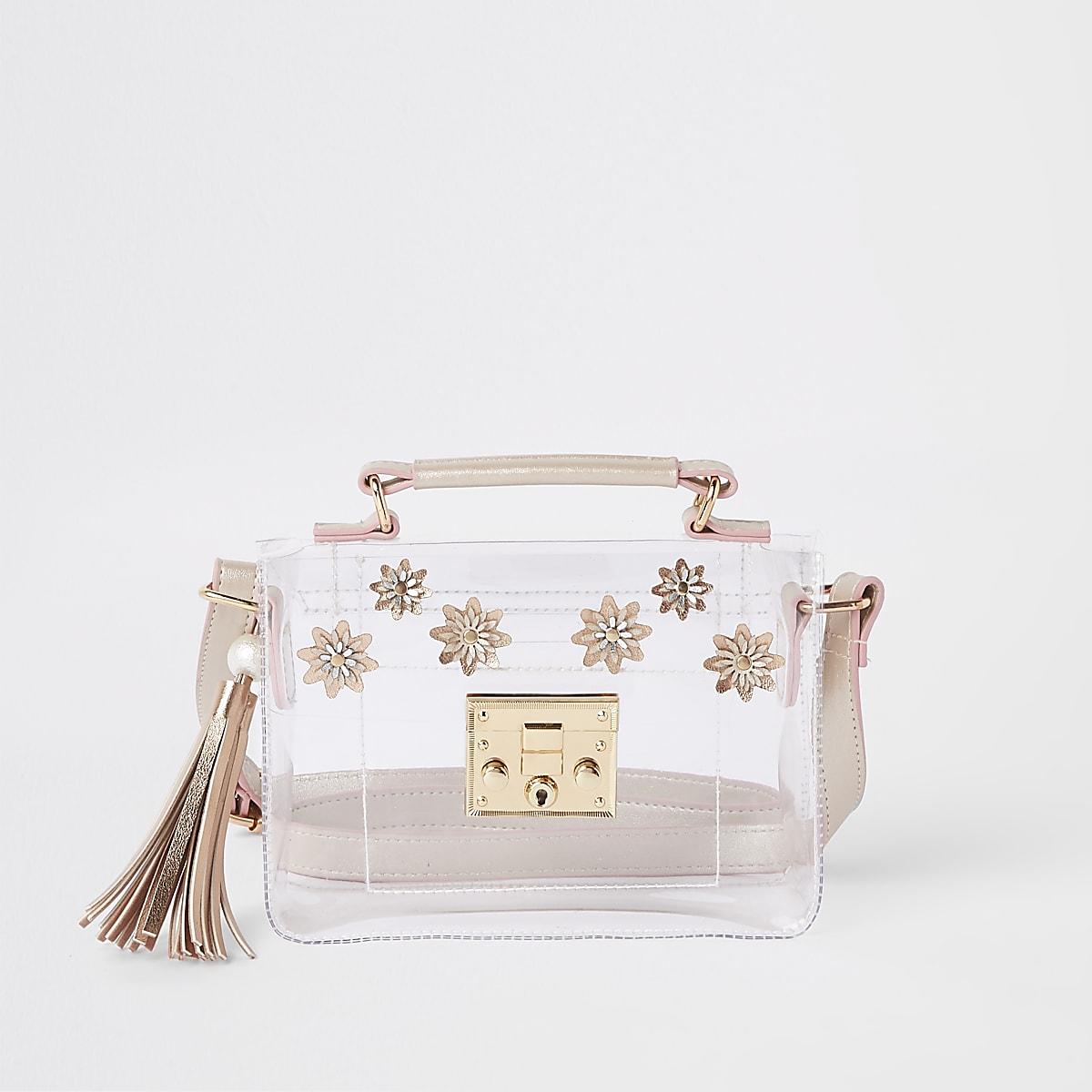 Girls pink Perspex floral cross body bag
