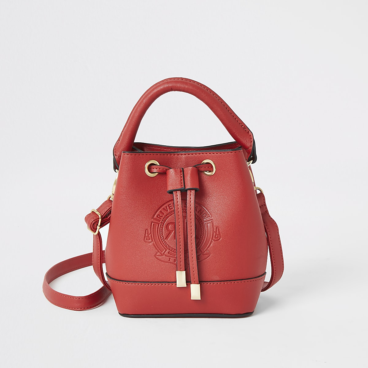 Girls red bucket bag
