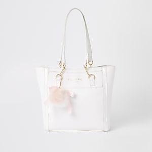 Girls white RI monogram shopper