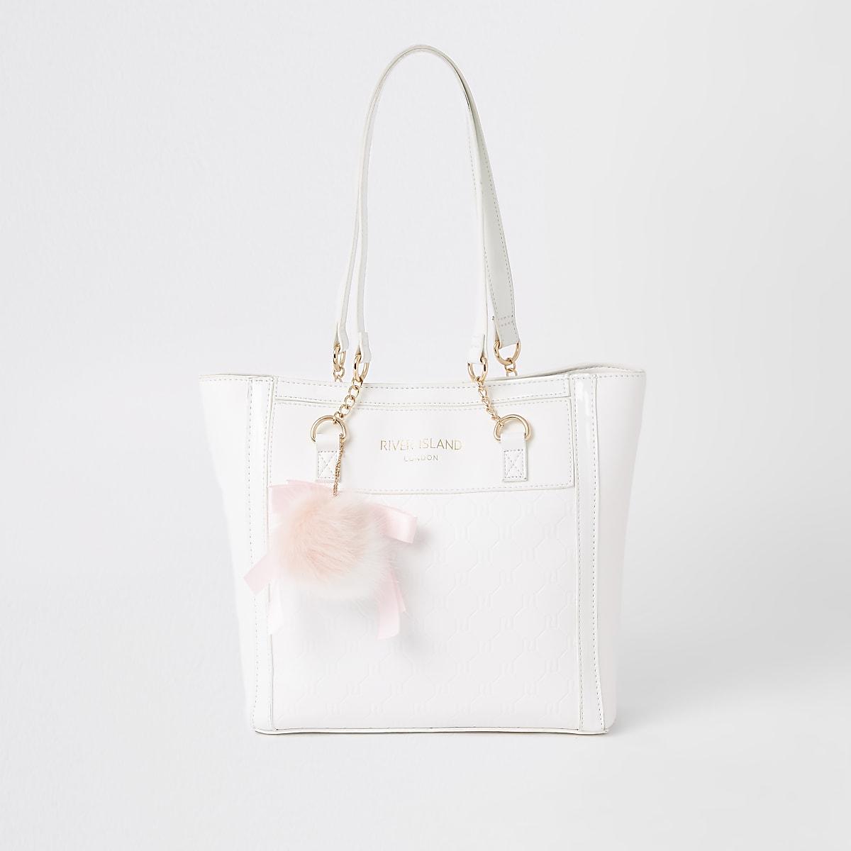 Girls white RI monogram shopper bag
