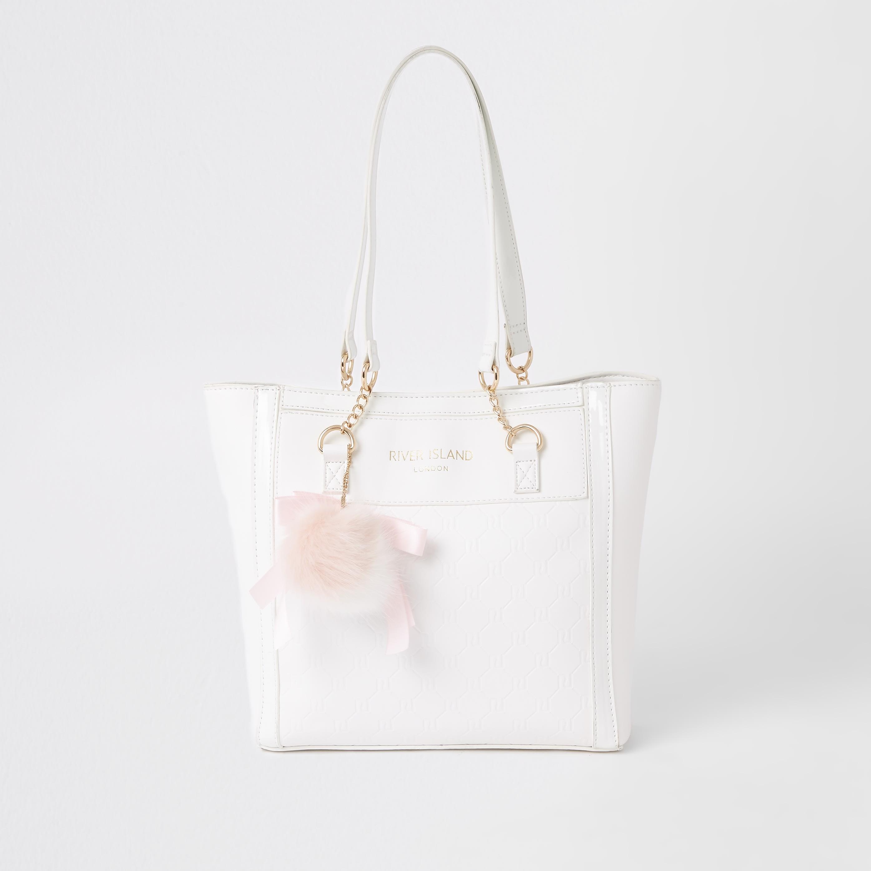 RIVER ISLAND | Girls White RI monogram shopper bag | Goxip