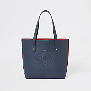 Girls navy RI logo tote bag