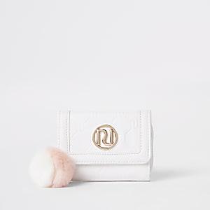 Porte-monnaie à trois volets blanc avec logo RI pour fille