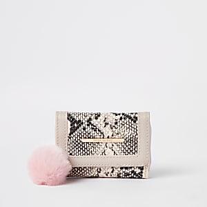 Porte-monnaie trois volets rose à imprimé serpent pour fille