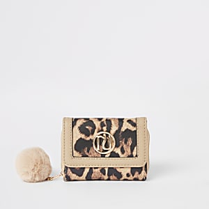 Porte-monnaie en trois parties imprimé léopard marron pour fille