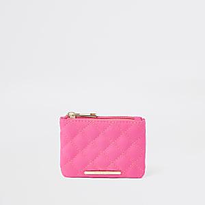 Porte-monnaie rose fluo matelassé zippé dessus pour fille