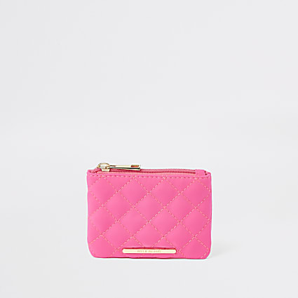 Girls neon pink quilted zip top purse