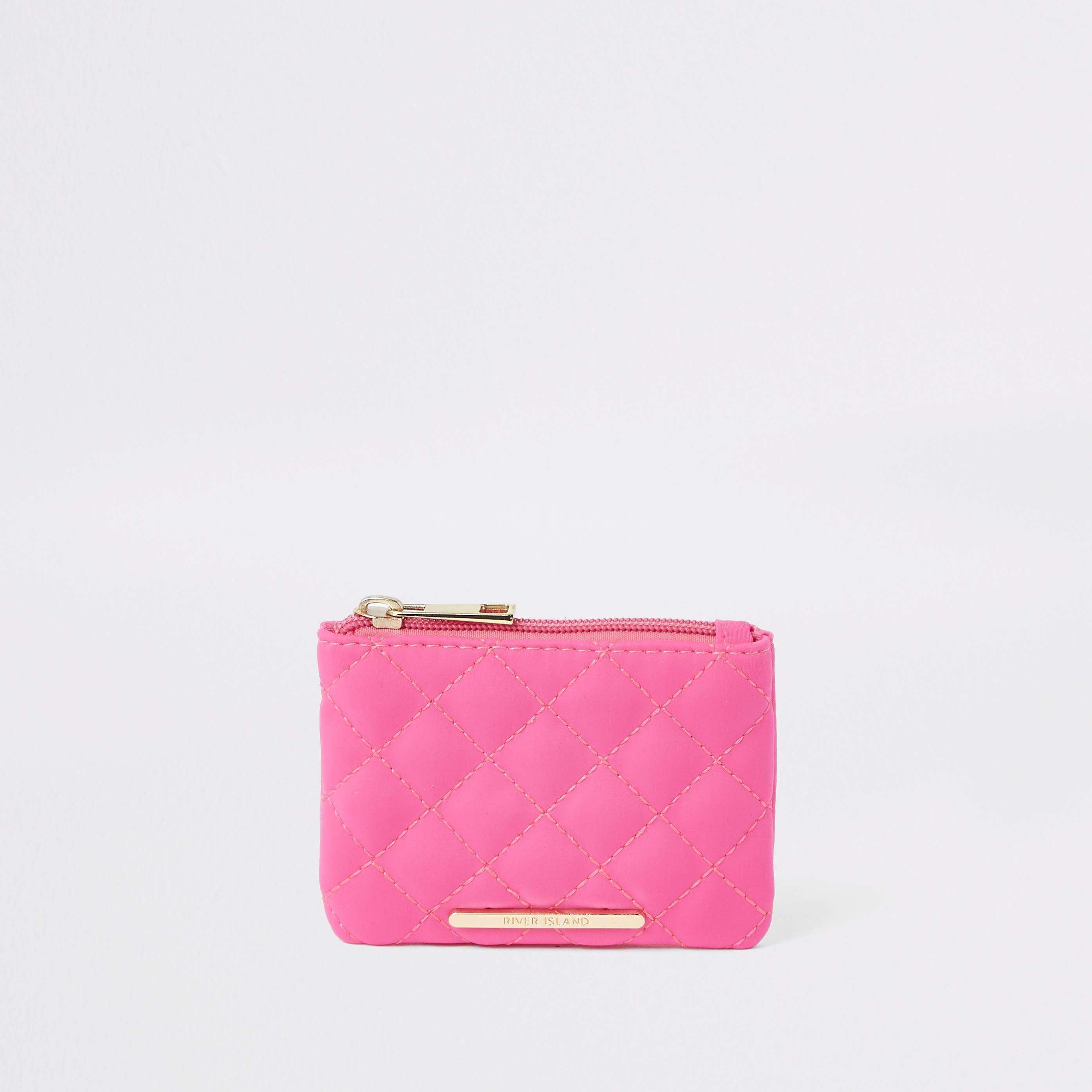RIVER ISLAND | Girls Neon Pink Quilted Zip Top Purse | Goxip