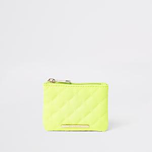 Neongele doorgestikte portemonnee met rits bovenop voor meisjes