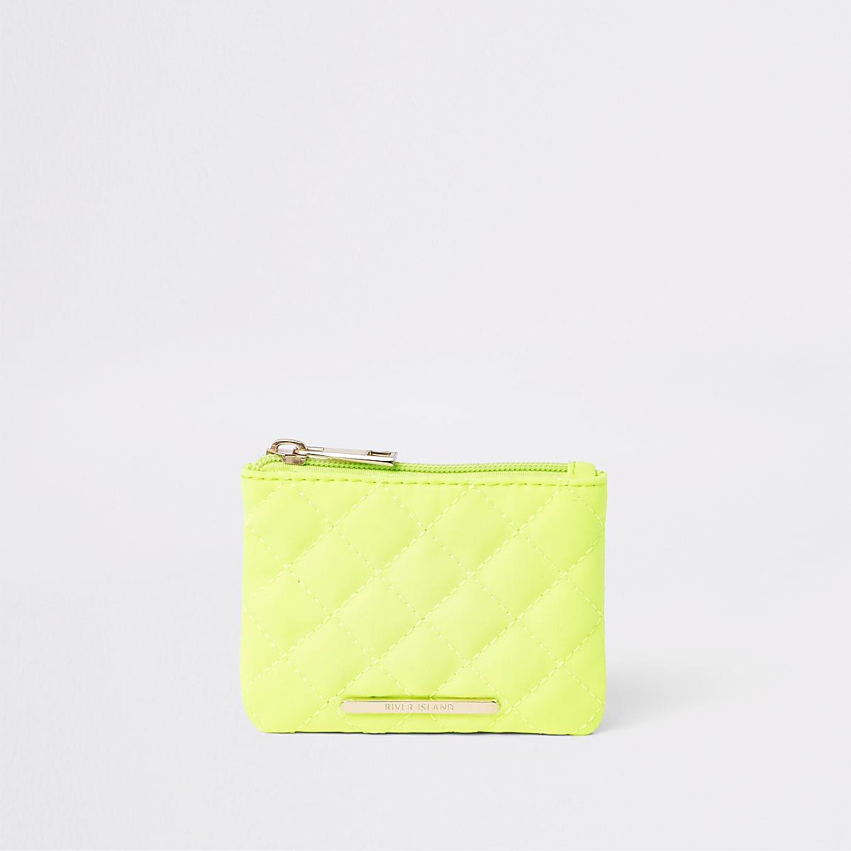 Girls neon yellow quilted zip top purse