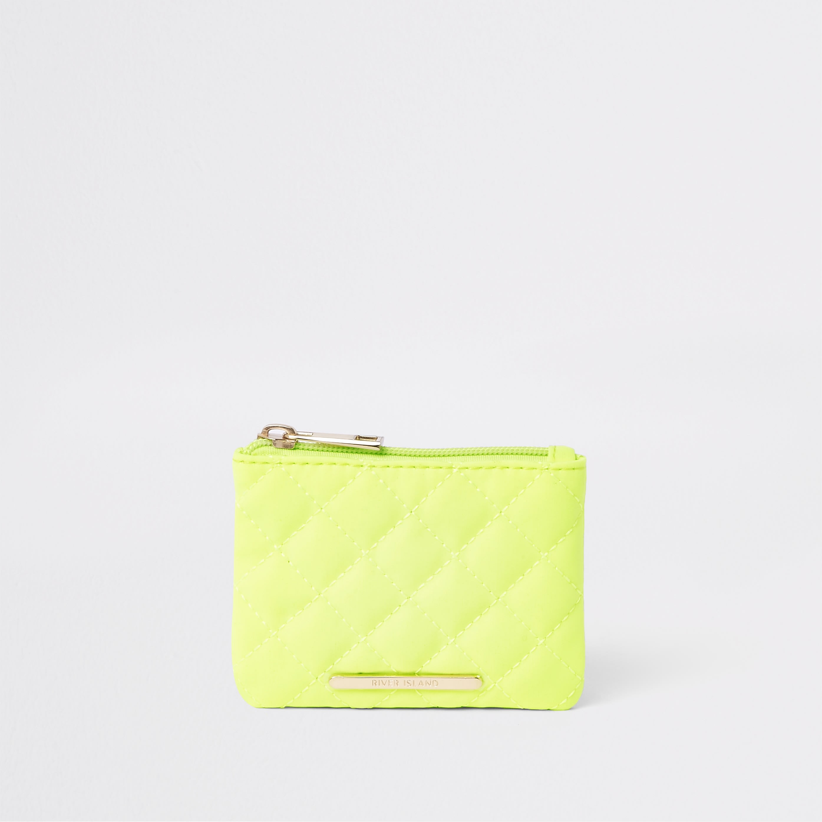 RIVER ISLAND | Girls Neon Yellow Quilted Zip Top Purse | Goxip