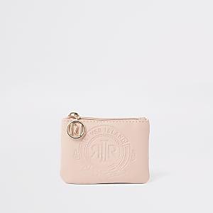 Roze portemonnee met RI-logo in reliëf en rits voor meisjes