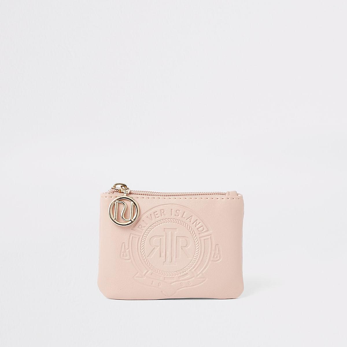 Girls pink RI embossed zip purse