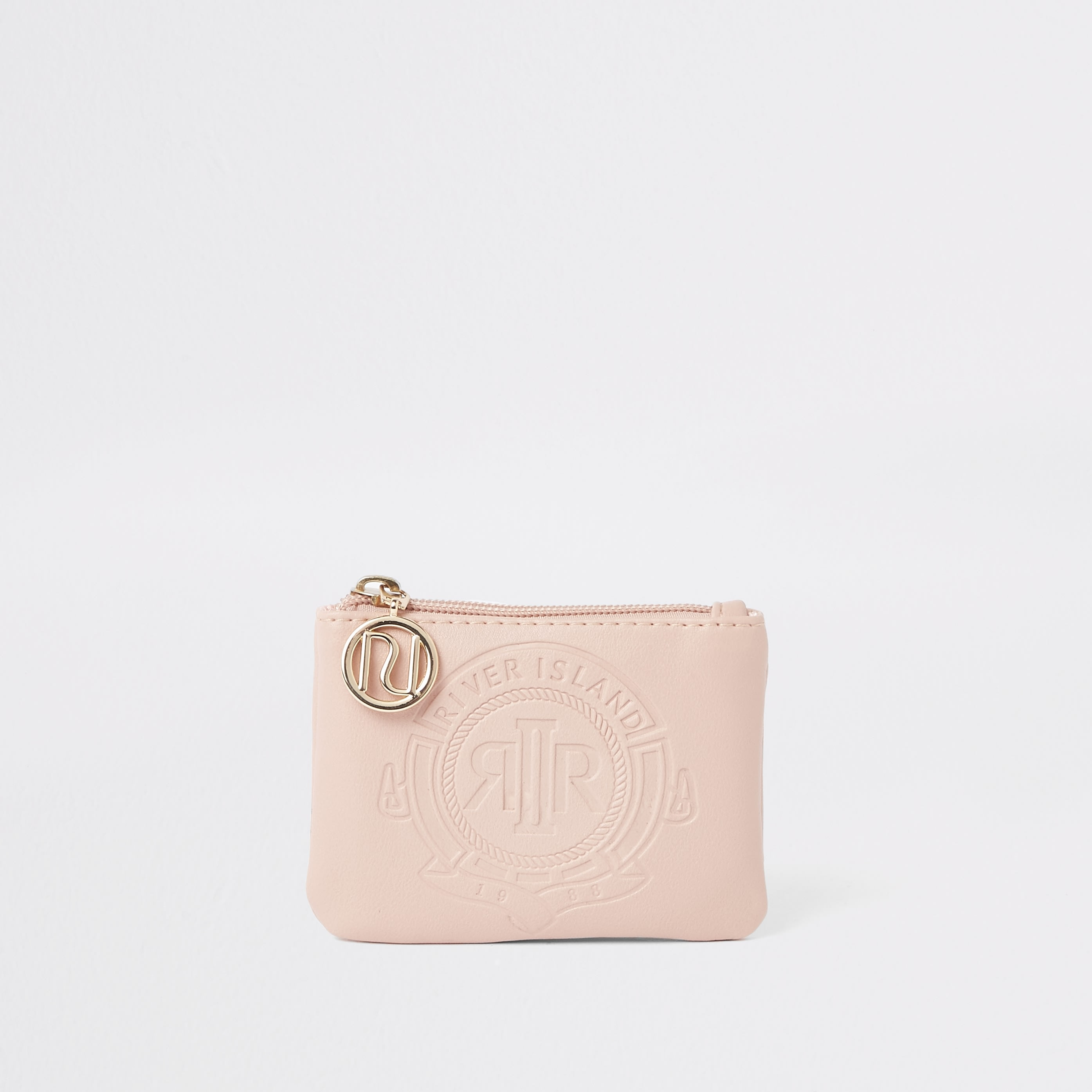 RIVER ISLAND | Girls Pink RI Embossed Zip Purse | Goxip
