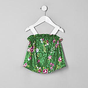 Mini - Groene camitop met bloemenprint voor meisjes