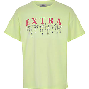Girls green 'extra' embellished T-shirt