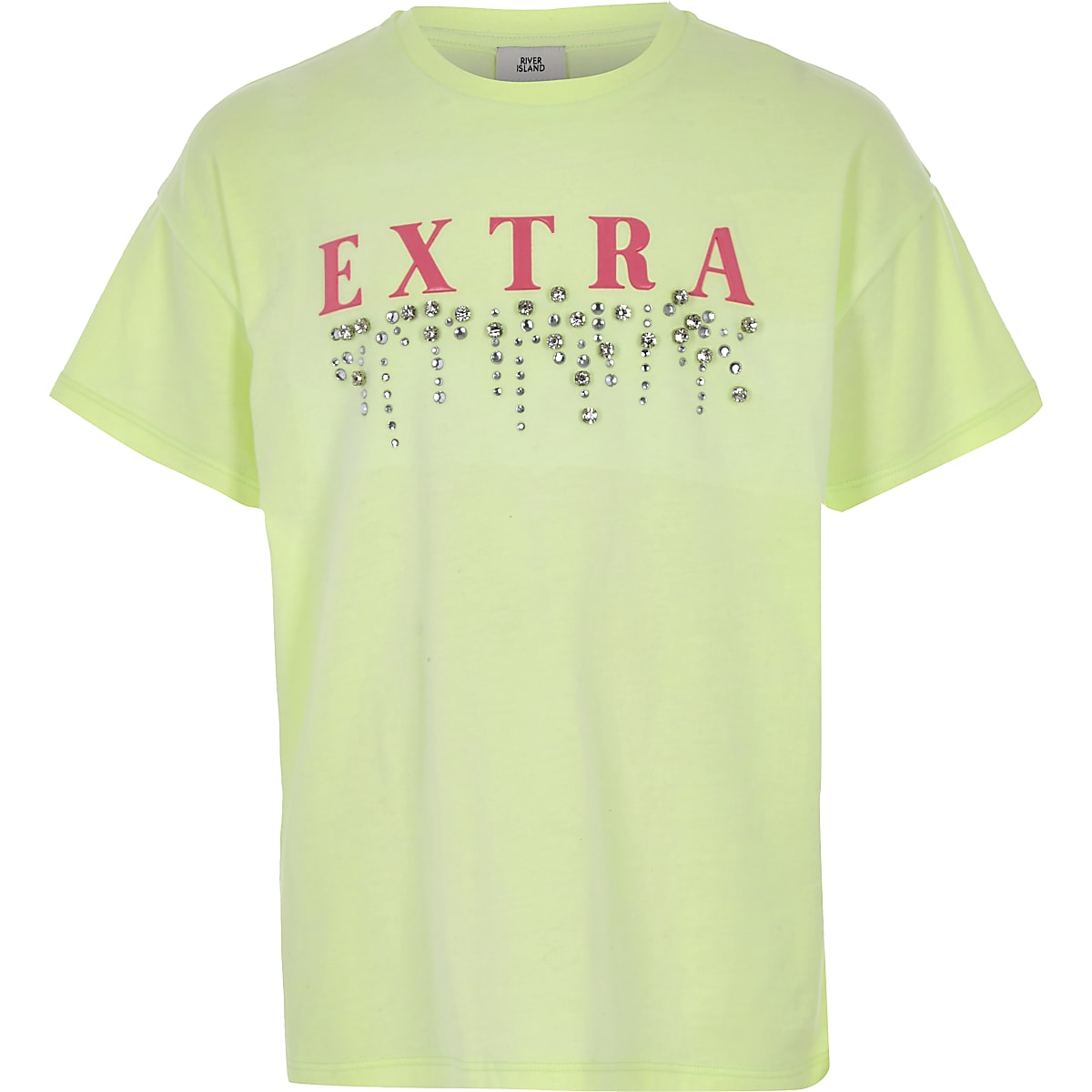 Girls green 'extra' embellished T-shirt