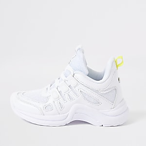 Girls white chunky sneakers