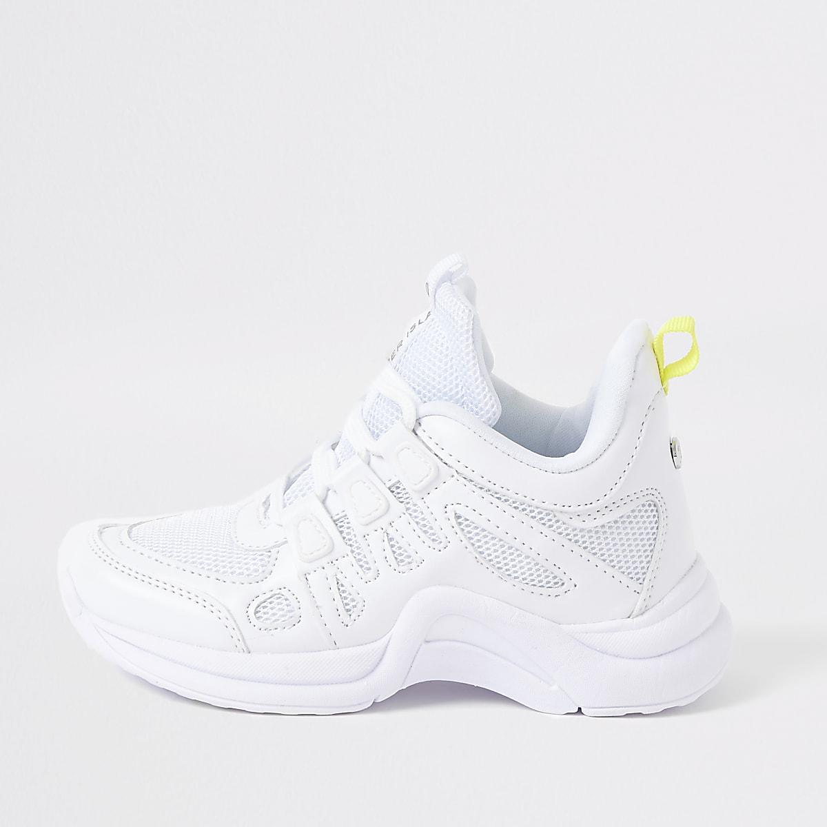 Girls white chunky sneakers
