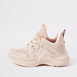 Girls pink chunky trainers