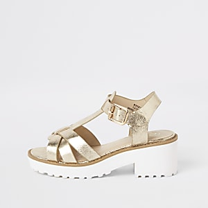 Grobe Sandalen in Gold-Metallic