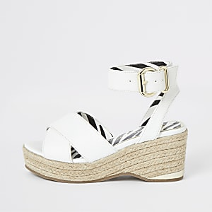 Girls white espadrille wedges