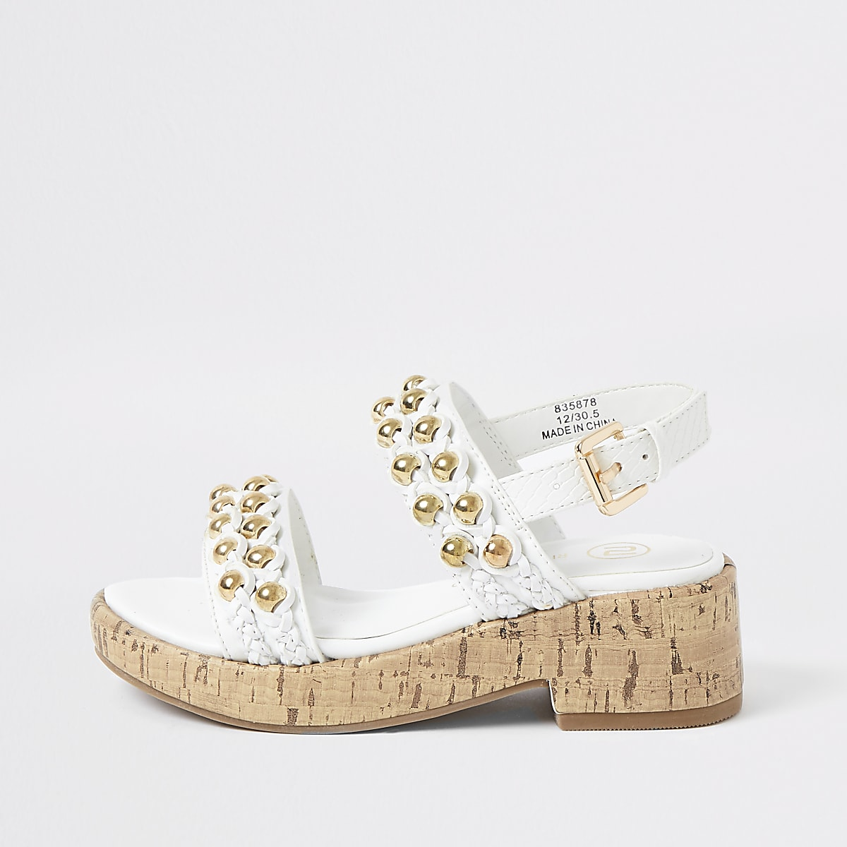 Girls white embellished cork clumpy sandals