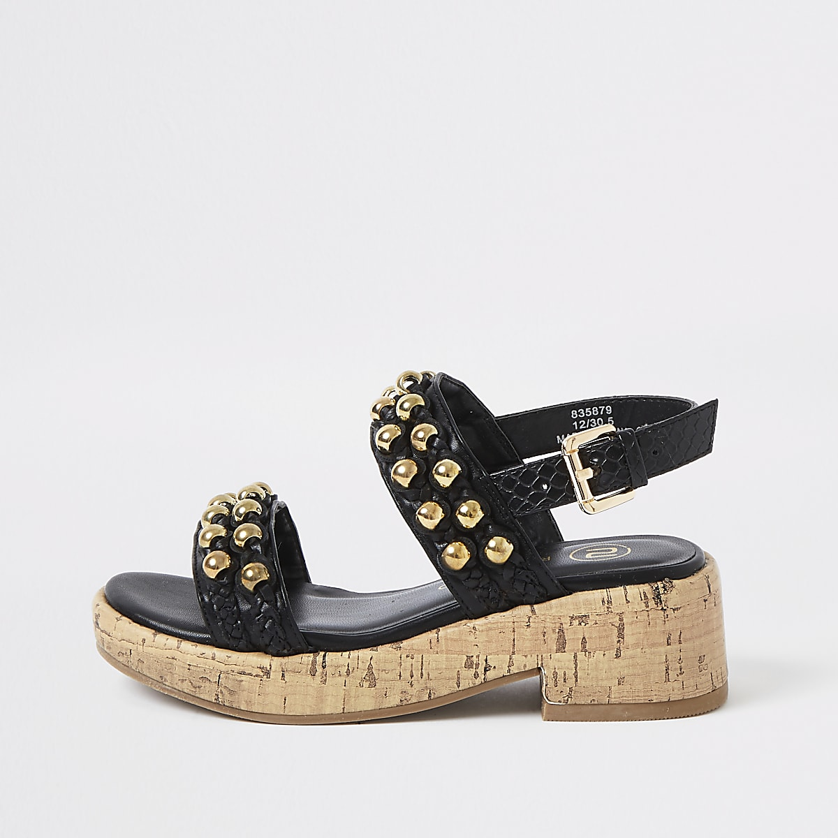 Girls black embellished cork clumpy sandals