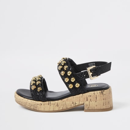 Girls black embellished cork clumpy sandals