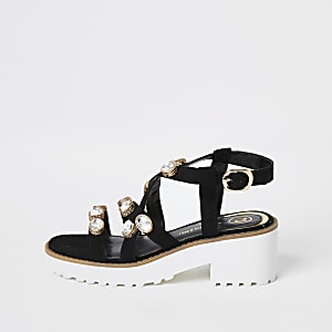Girls black embellished chunky sandals