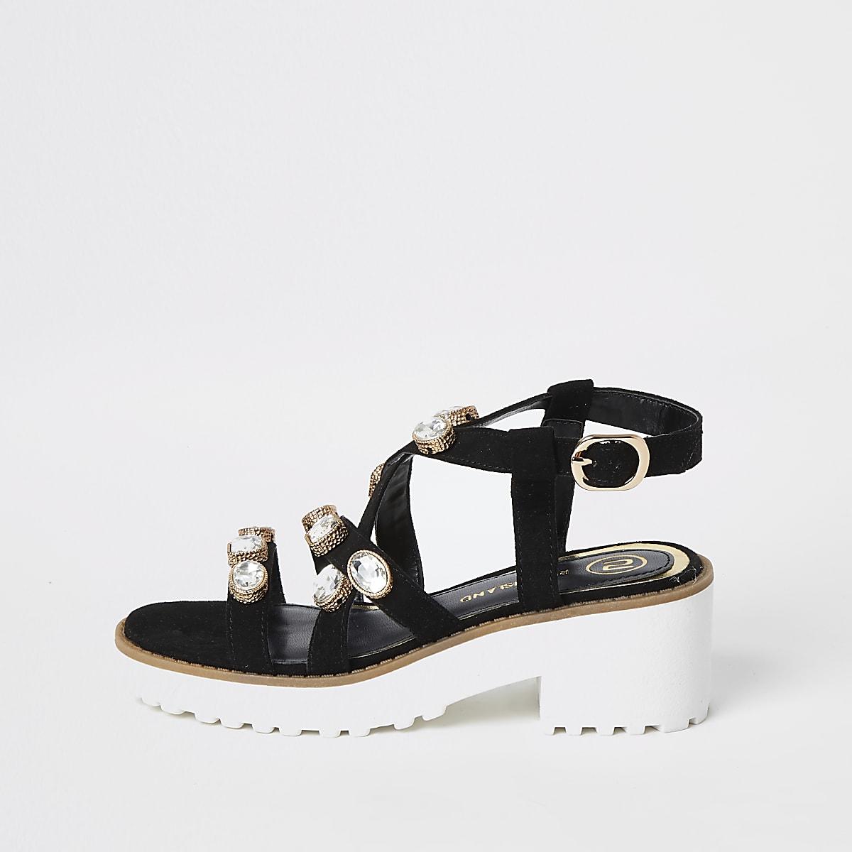 Girls black embellished chunky sandals