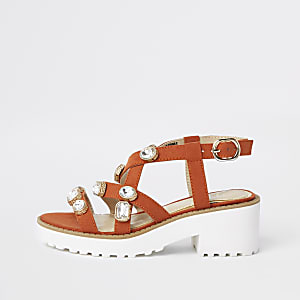Girls orange embellished clumpy sandals