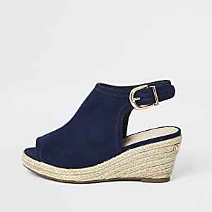 Girls navy espadrille wedges