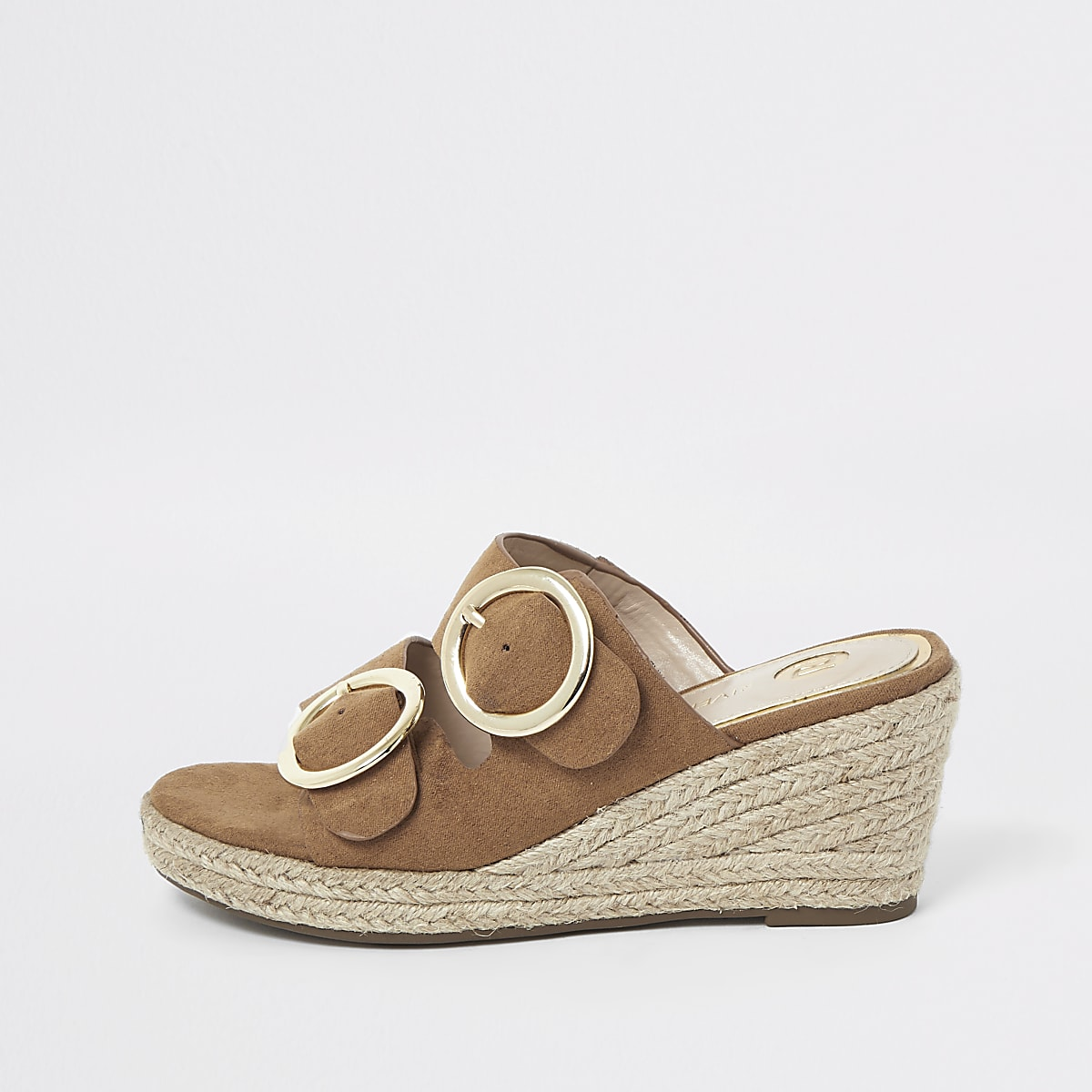 Girls light brown espadrille mule wedges