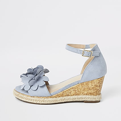Girls blue espadrille flower wedges