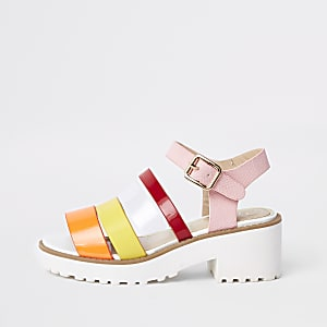 Girls multi strap clumpy sandals