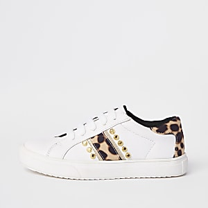 ed321c7c8ca Girls white leopard studded plimsolls
