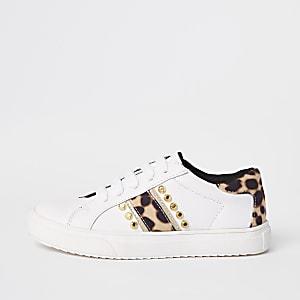 Weiße Sneaker mit Leoparden-Muster und Nieten für Mädchen