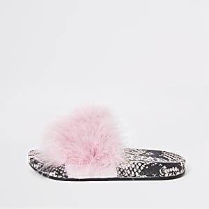 Claquettes en fausse fourrure imprimé serpent roses pour fille